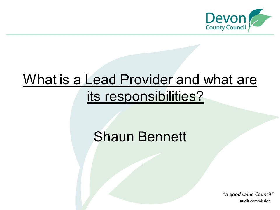 What is a Lead Provider and what are its responsibilities Shaun Bennett