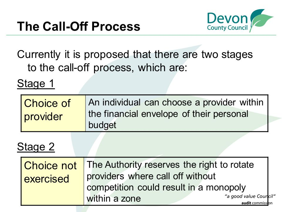 The Call-Off Process Currently it is proposed that there are two stages to the call-off process, which are: Stage 1 Stage 2 Choice of provider An individual can choose a provider within the financial envelope of their personal budget Choice not exercised The Authority reserves the right to rotate providers where call off without competition could result in a monopoly within a zone
