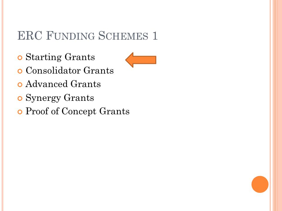 ERC F UNDING S CHEMES 1 Starting Grants Consolidator Grants Advanced Grants Synergy Grants Proof of Concept Grants