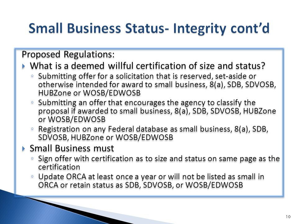 Proposed Regulations:  What is a deemed willful certification of size and status.