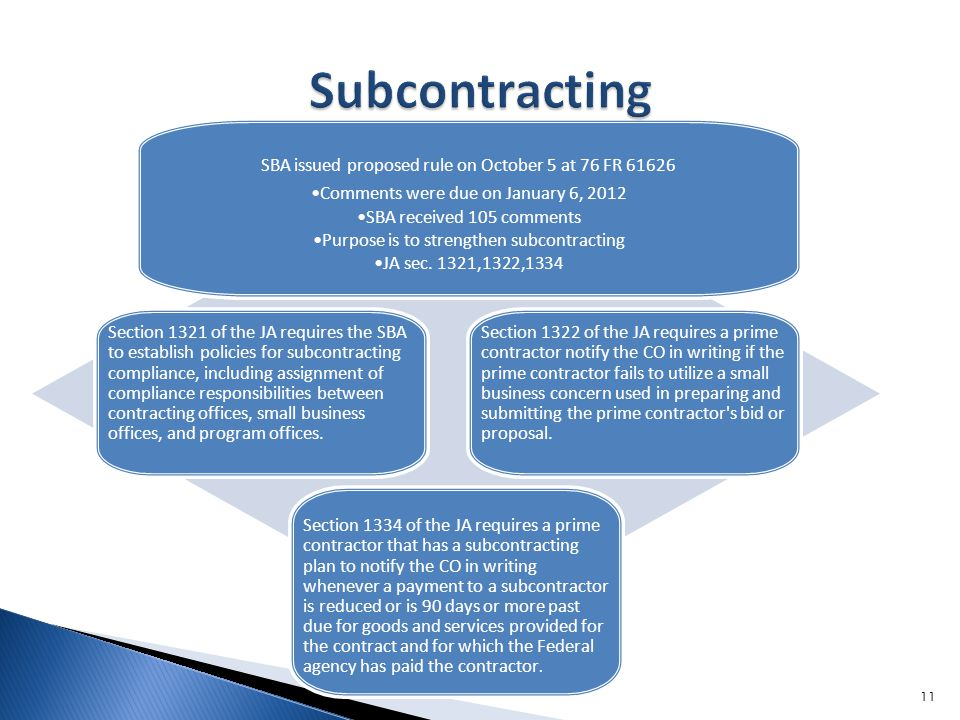 SBA issued proposed rule on October 5 at 76 FR Comments were due on January 6, 2012 SBA received 105 comments Purpose is to strengthen subcontracting JA sec.