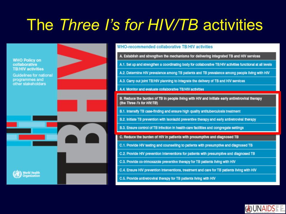 The Three I's for HIV/TB activities