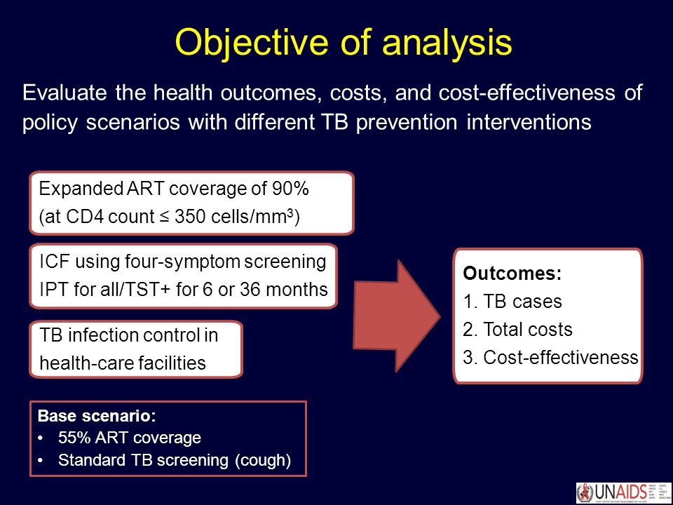 Objective of analysis TB infection control in health-care facilities Expanded ART coverage of 90% (at CD4 count ≤ 350 cells/mm 3 ) ICF using four-symptom screening IPT for all/TST+ for 6 or 36 months Evaluate the health outcomes, costs, and cost-effectiveness of policy scenarios with different TB prevention interventions Outcomes: 1.