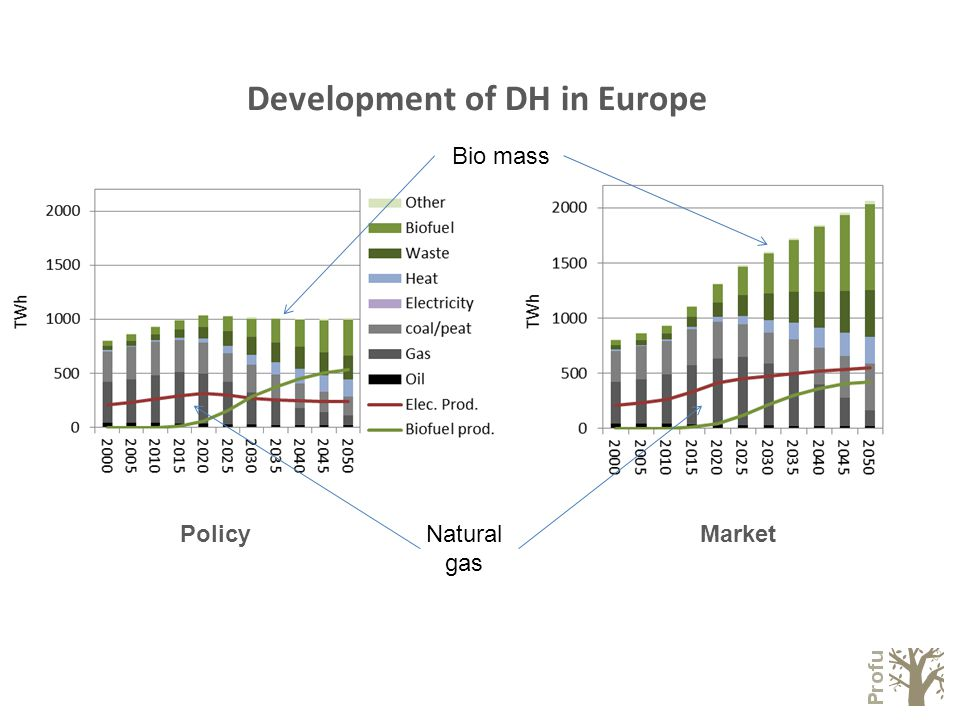 Development of DH in Europe Bio mass Natural gas