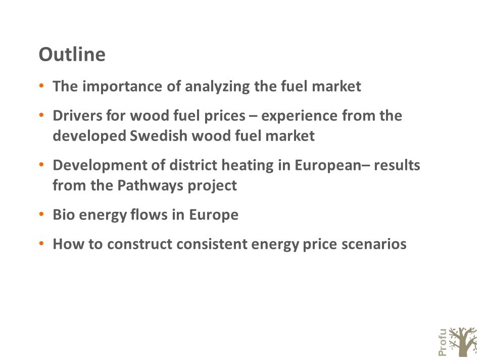 Outline The importance of analyzing the fuel market Drivers for wood fuel prices – experience from the developed Swedish wood fuel market Development of district heating in European– results from the Pathways project Bio energy flows in Europe How to construct consistent energy price scenarios