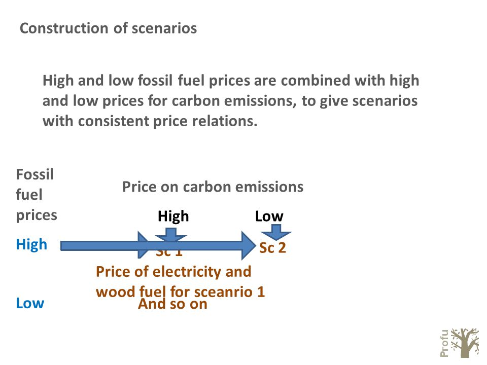Construction of scenarios Fossil fuel prices High Low Price on carbon emissions High Low High and low fossil fuel prices are combined with high and low prices for carbon emissions, to give scenarios with consistent price relations.