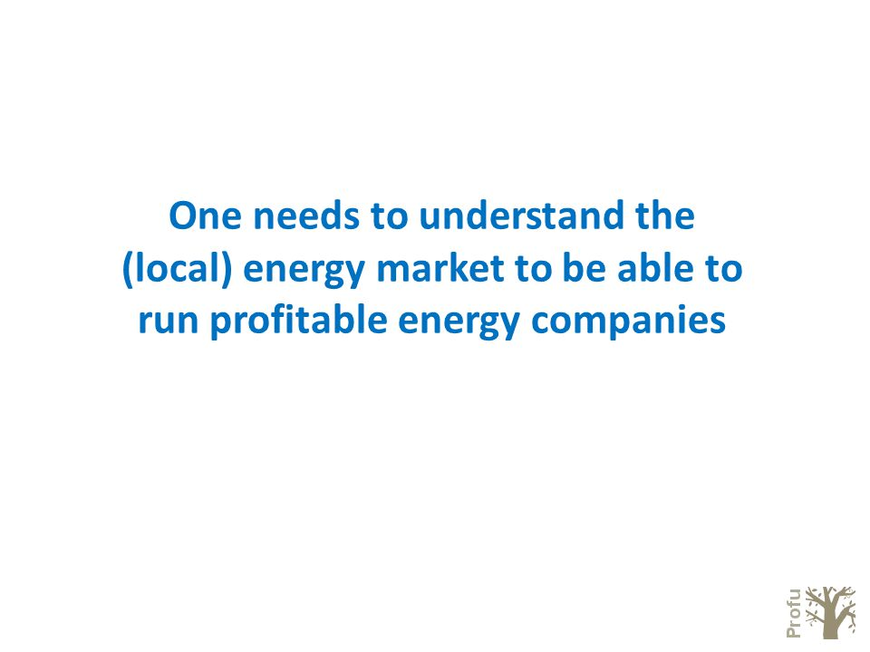 One needs to understand the (local) energy market to be able to run profitable energy companies