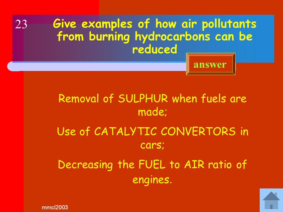 mmcl2003 Give examples of pollutants released into the atmosphere by burning hydrocarbons Oxides of Nitrogen and Sulphur; Carbon Monoxide; Unburned hydrocarbons; Lead from some petrols answer 22