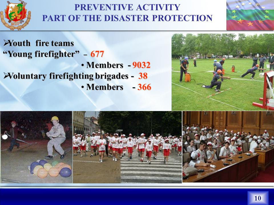 10 PREVENTIVE ACTIVITY PART OF THE DISASTER PROTECTION YYYYouth fire teams Young firefighter – 6 77 Members VVVVoluntary firefighting brigades - 38 Members