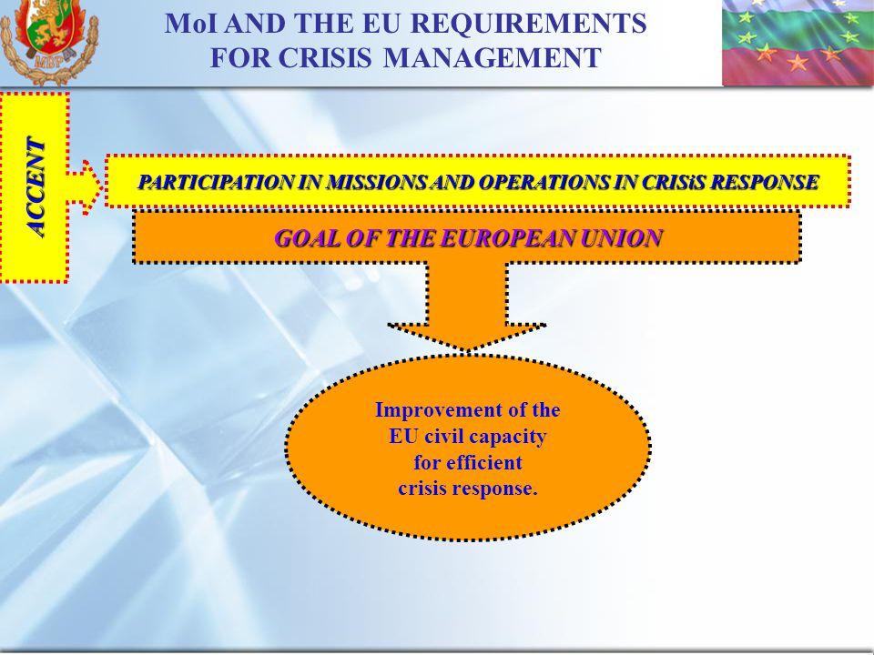 16 MoI AND THE EU REQUIREMENTS FOR CRISIS MANAGEMENT ACCENT PARTICIPATION IN MISSIONS AND OPERATIONS IN CRISiS RESPONSE GOAL OF THE EUROPEAN UNION Improvement of the EU civil capacity for efficient crisis response.