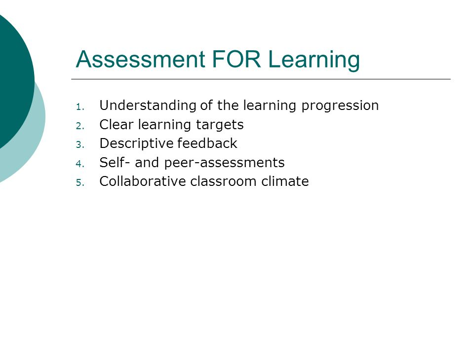 Assessment FOR Learning 1. Understanding of the learning progression 2.