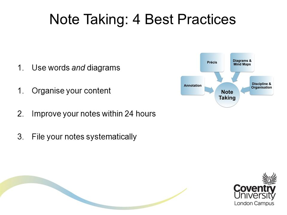 1.Use words and diagrams 1.Organise your content 2.Improve your notes within 24 hours 3.File your notes systematically Note Taking: 4 Best Practices