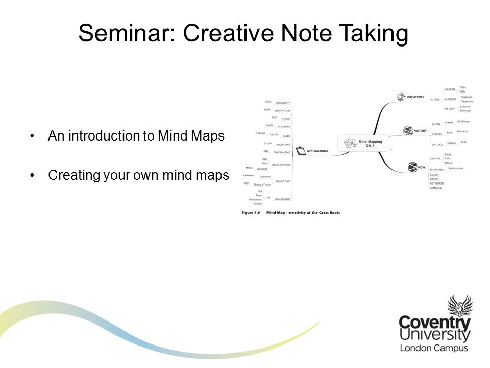 An introduction to Mind Maps Creating your own mind maps Seminar: Creative Note Taking