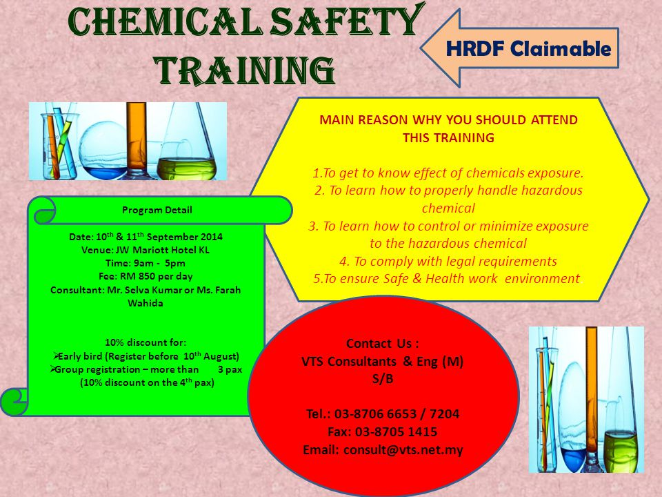 CHEMICAL SAFETY TRAINING MAIN REASON WHY YOU SHOULD ATTEND THIS