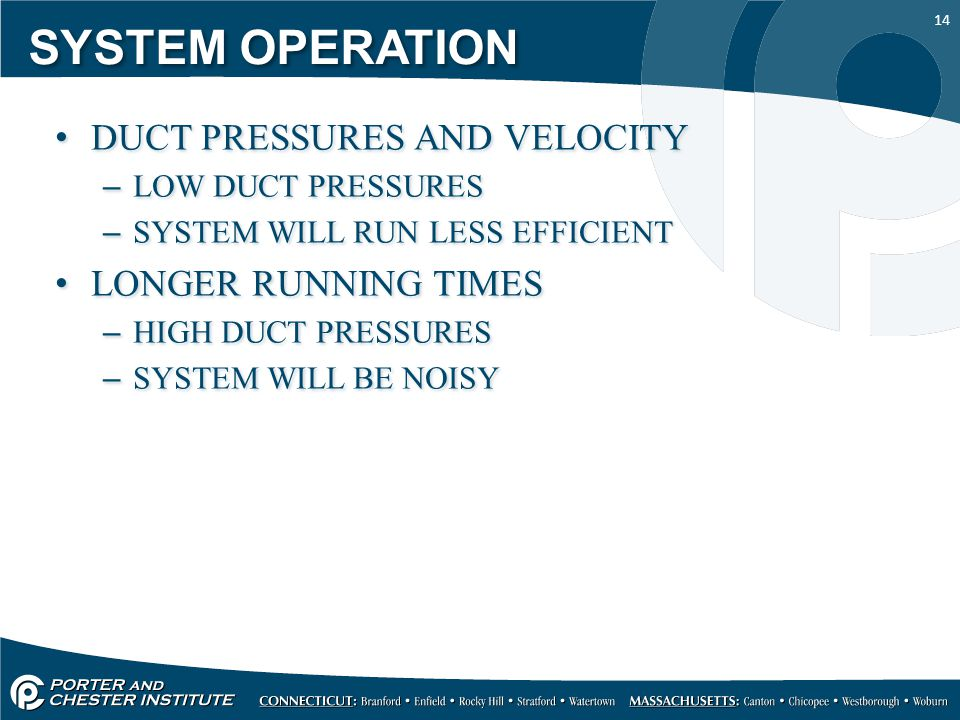 14 SYSTEM OPERATION DUCT PRESSURES AND VELOCITY –LOW DUCT PRESSURES –SYSTEM WILL RUN LESS EFFICIENT LONGER RUNNING TIMES –HIGH DUCT PRESSURES –SYSTEM WILL BE NOISY DUCT PRESSURES AND VELOCITY –LOW DUCT PRESSURES –SYSTEM WILL RUN LESS EFFICIENT LONGER RUNNING TIMES –HIGH DUCT PRESSURES –SYSTEM WILL BE NOISY