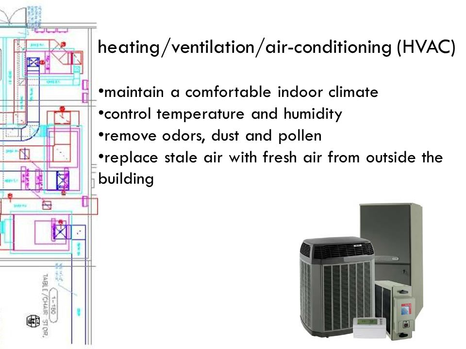 heating/ventilation/air-conditioning (HVAC) maintain a comfortable indoor climate control temperature and humidity remove odors, dust and pollen replace stale air with fresh air from outside the building