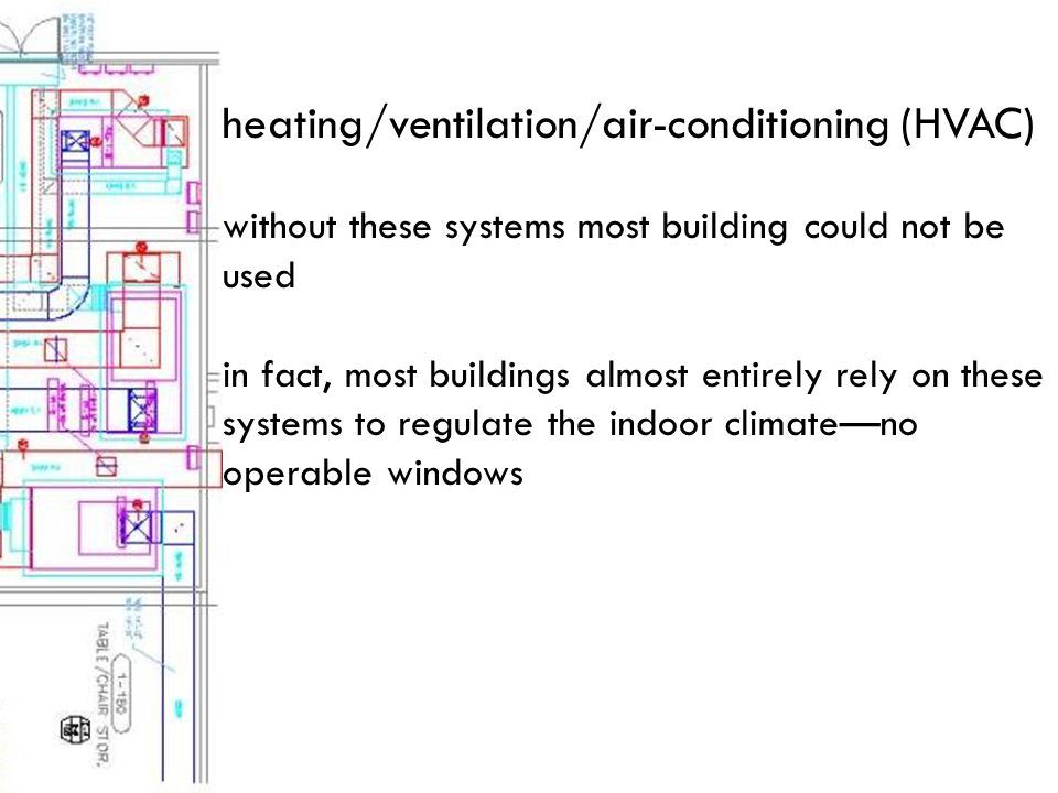 heating/ventilation/air-conditioning (HVAC) without these systems most building could not be used in fact, most buildings almost entirely rely on these systems to regulate the indoor climate—no operable windows