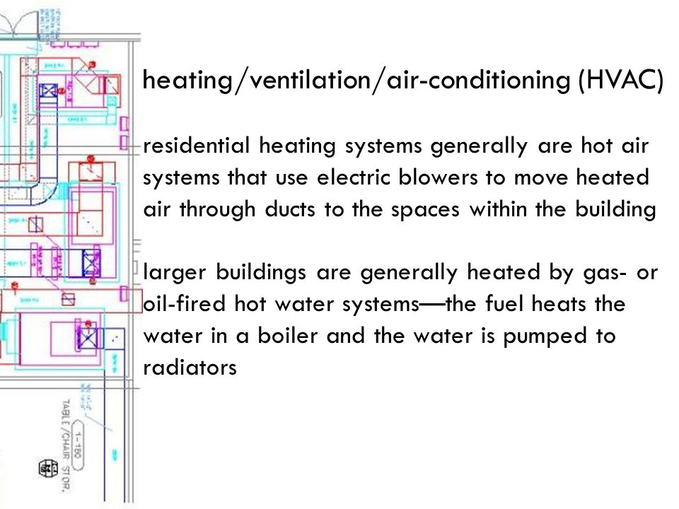 heating/ventilation/air-conditioning (HVAC) residential heating systems generally are hot air systems that use electric blowers to move heated air through ducts to the spaces within the building larger buildings are generally heated by gas- or oil-fired hot water systems—the fuel heats the water in a boiler and the water is pumped to radiators