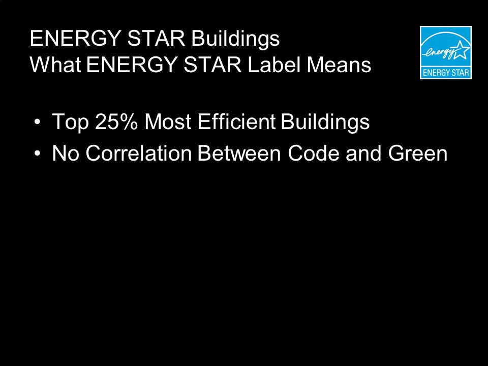 ENERGY STAR Buildings What ENERGY STAR Label Means Top 25% Most Efficient Buildings No Correlation Between Code and Green