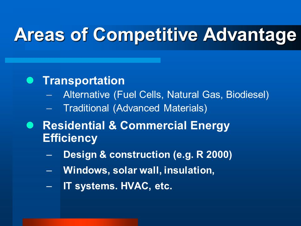 Areas of Competitive Advantage Transportation –Alternative (Fuel Cells, Natural Gas, Biodiesel) –Traditional (Advanced Materials) Residential & Commercial Energy Efficiency –Design & construction (e.g.