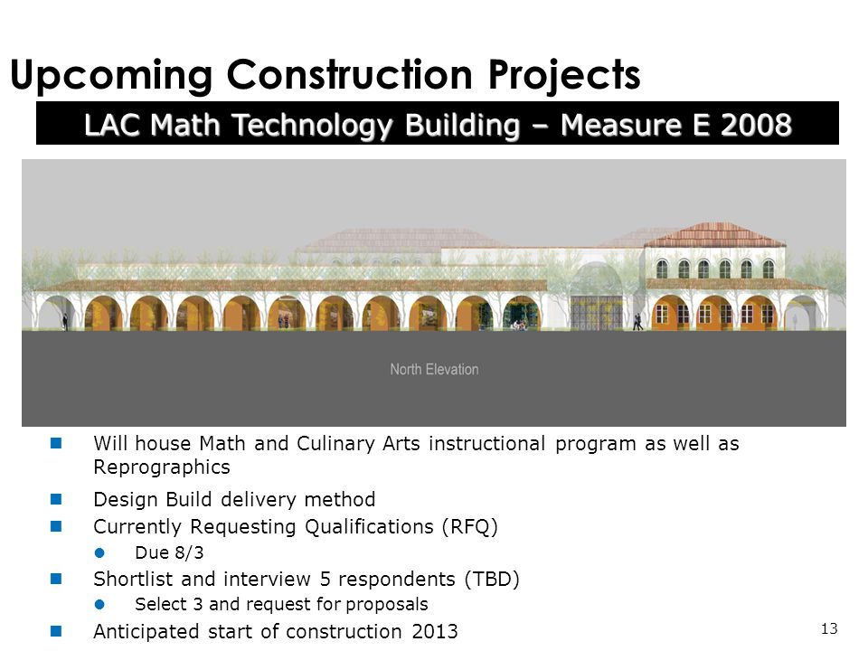 Upcoming Construction Projects Will house Math and Culinary Arts instructional program as well as Reprographics Design Build delivery method Currently Requesting Qualifications (RFQ) Due 8/3 Shortlist and interview 5 respondents (TBD) Select 3 and request for proposals Anticipated start of construction 2013 LAC Math Technology Building – Measure E