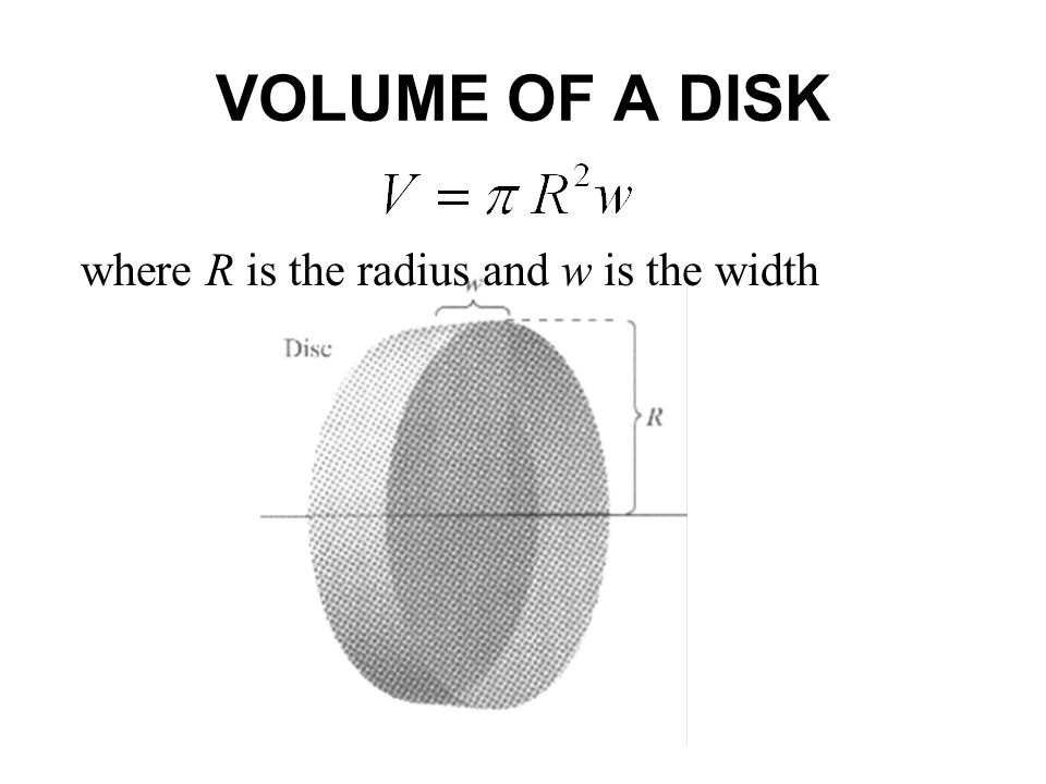 VOLUME OF A DISK where R is the radius and w is the width