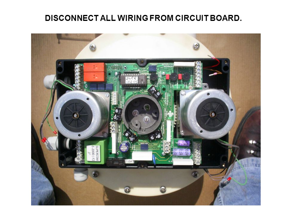 DISCONNECT ALL WIRING FROM CIRCUIT BOARD.