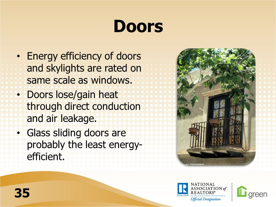 Doors Energy efficiency of doors and skylights are rated on same scale as windows.