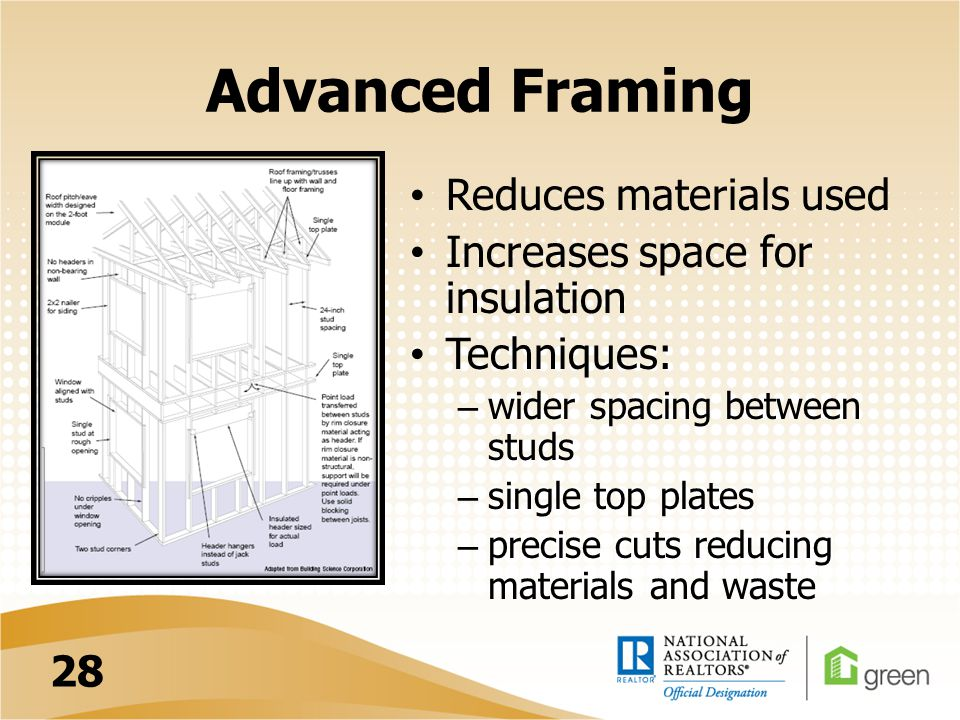 Advanced Framing Reduces materials used Increases space for insulation Techniques: – wider spacing between studs – single top plates – precise cuts reducing materials and waste 28