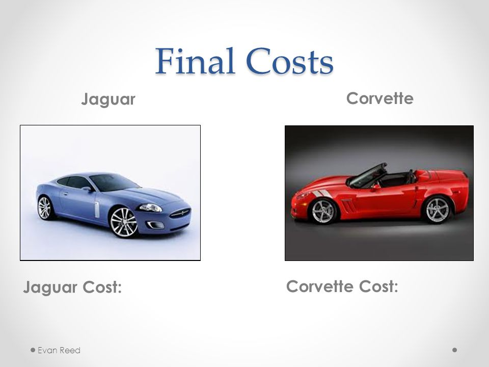 Final Costs Jaguar Jaguar Cost: Corvette Corvette Cost: Evan Reed