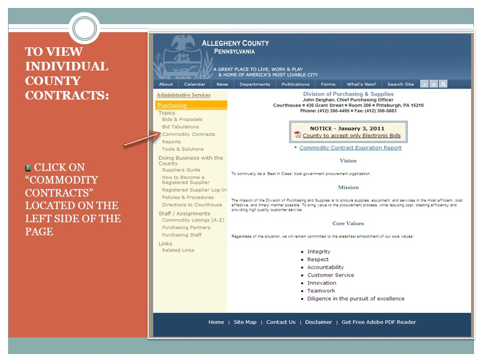 TO VIEW INDIVIDUAL COUNTY CONTRACTS: CLICK ON COMMODITY CONTRACTS LOCATED ON THE LEFT SIDE OF THE PAGE