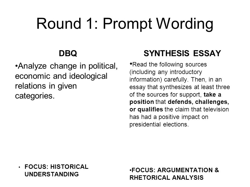 apush dbq vs ap language synthesis essay face off  ppt download round  prompt wording dbq analyze change in political economic and  ideological relations in