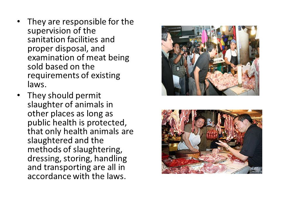 They are responsible for the supervision of the sanitation facilities and proper disposal, and examination of meat being sold based on the requirements of existing laws.