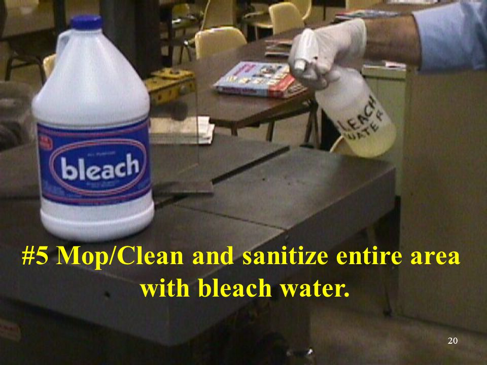 #5 Mop/Clean and sanitize entire area with bleach water. 20
