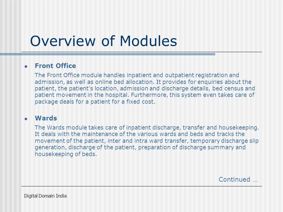 Digital Domain India Hospital Management Information System