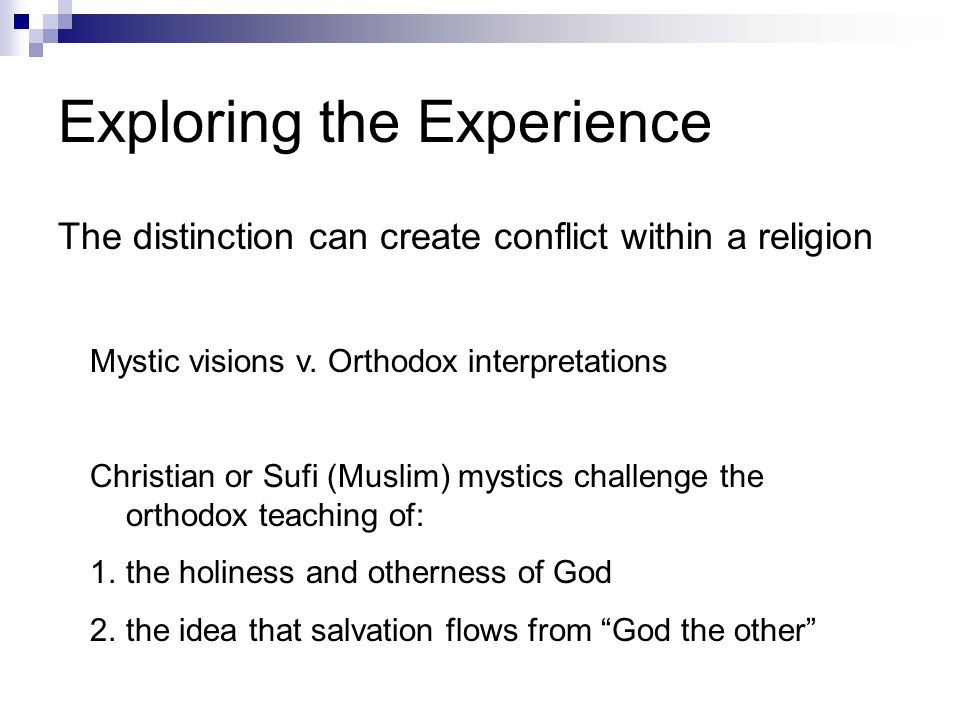 mystical and numinous religious experience essay Dr stanley h mullen addresses some of the perennial issues in philosophy of religion, including the problem of suffering, the coherence of the idea of god, the dialogue between science and religion, the interface of morality and cultural influence, as well as such ideas as the tao, sehnsucht, the mystical, the numinous, religious experience.