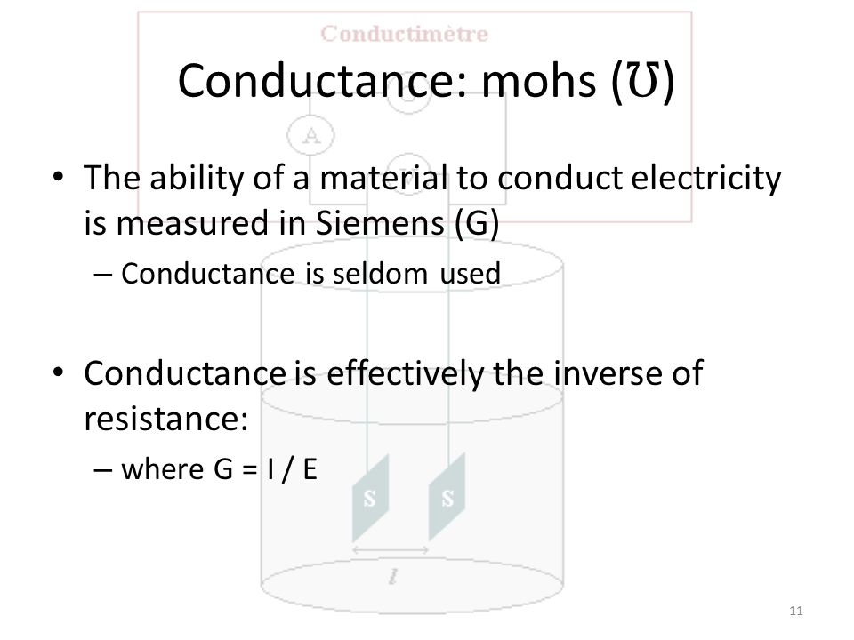 Conductance: mohs ( ℧ ) The ability of a material to conduct electricity is measured in Siemens (G) – Conductance is seldom used Conductance is effectively the inverse of resistance: – where G = I / E 11