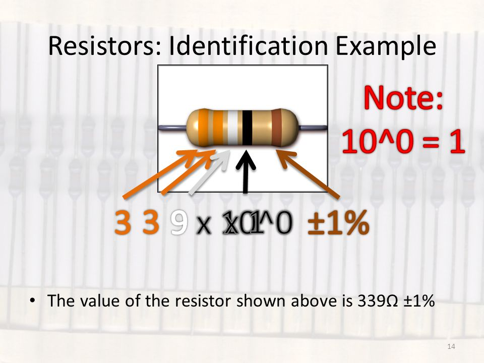 Resistors: Identification Example The value of the resistor shown above is 339Ω ±1% 14