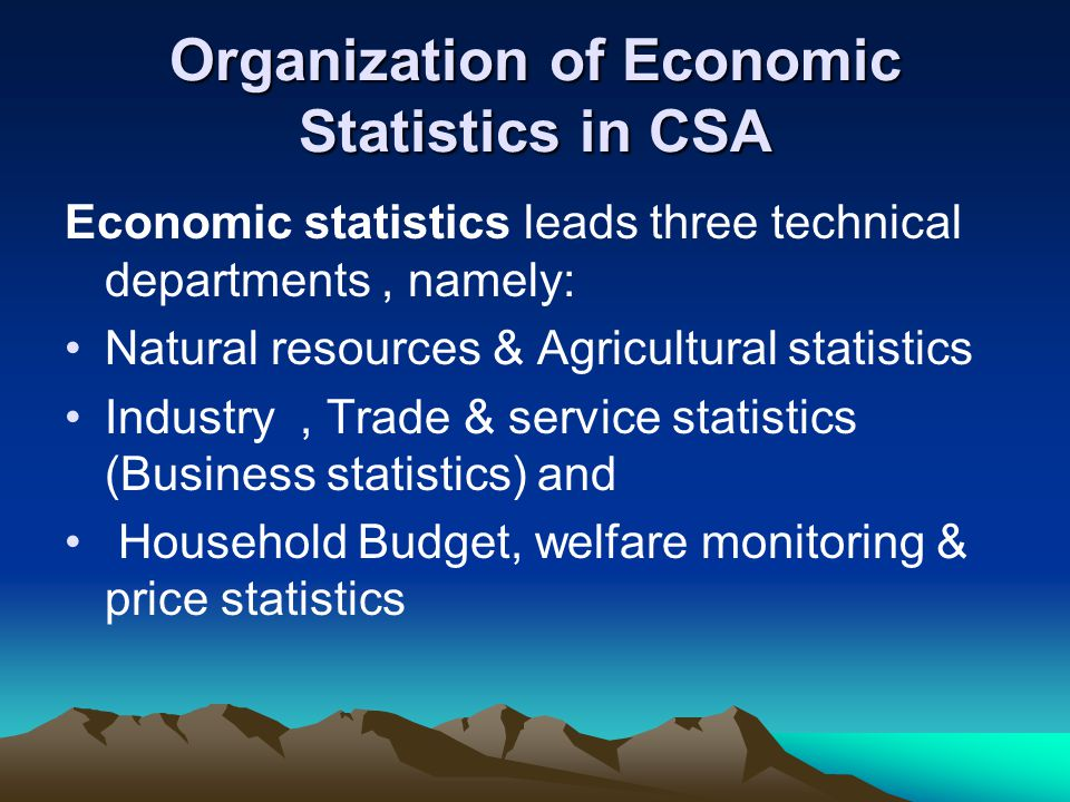 Organization of Economic Statistics in CSA Economic statistics leads three technical departments, namely: Natural resources & Agricultural statistics Industry, Trade & service statistics (Business statistics) and Household Budget, welfare monitoring & price statistics