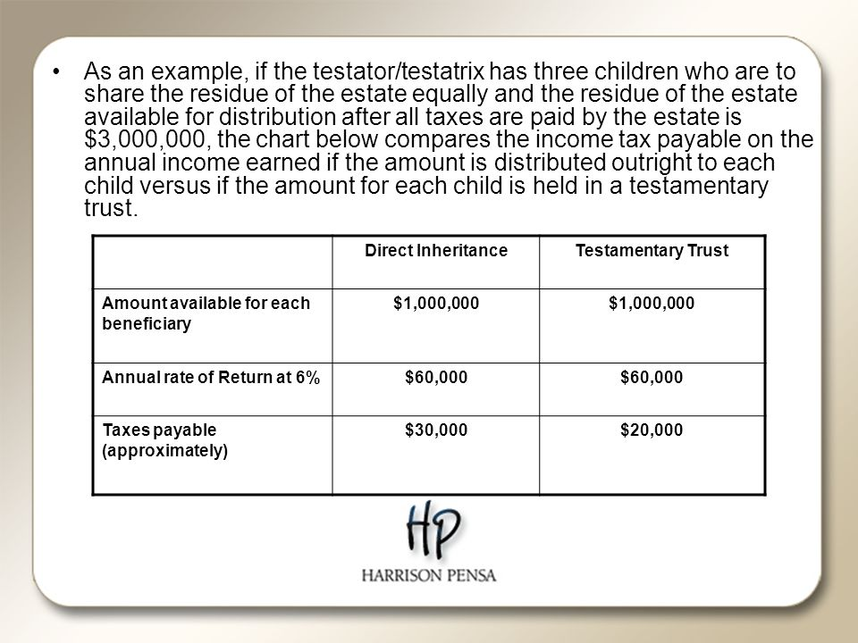 As an example, if the testator/testatrix has three children who are to share the residue of the estate equally and the residue of the estate available for distribution after all taxes are paid by the estate is $3,000,000, the chart below compares the income tax payable on the annual income earned if the amount is distributed outright to each child versus if the amount for each child is held in a testamentary trust.
