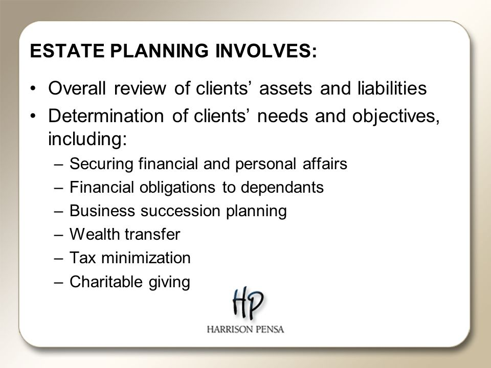 ESTATE PLANNING INVOLVES: Overall review of clients' assets and liabilities Determination of clients' needs and objectives, including: –Securing financial and personal affairs –Financial obligations to dependants –Business succession planning –Wealth transfer –Tax minimization –Charitable giving