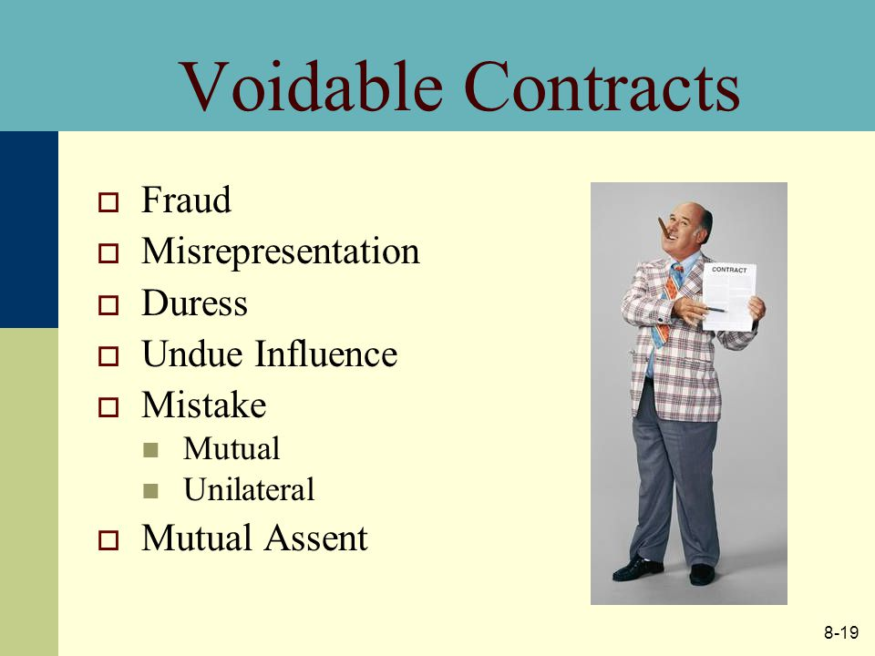 8-19 Voidable Contracts  Fraud  Misrepresentation  Duress  Undue Influence  Mistake Mutual Unilateral  Mutual Assent
