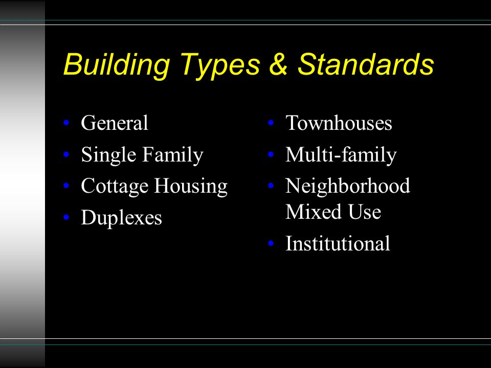 Building Types & Standards General Single Family Cottage Housing Duplexes Townhouses Multi-family Neighborhood Mixed Use Institutional