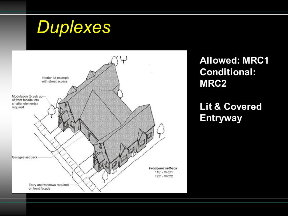 Allowed: MRC1 Conditional: MRC2 Lit & Covered Entryway Duplexes