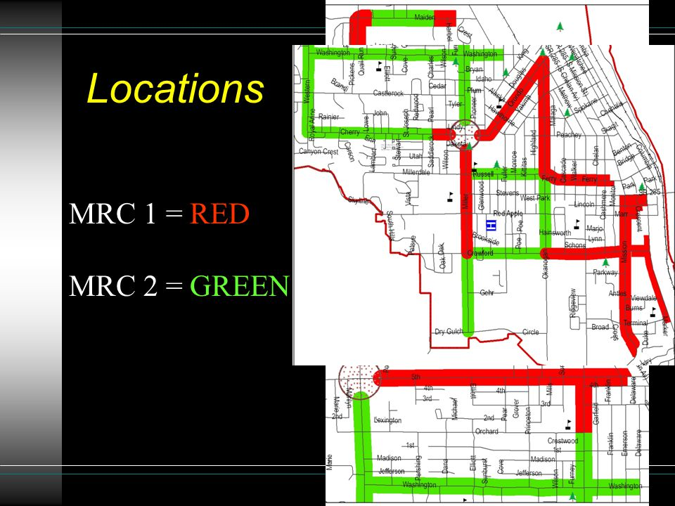 Locations MRC 1 = RED MRC 2 = GREEN