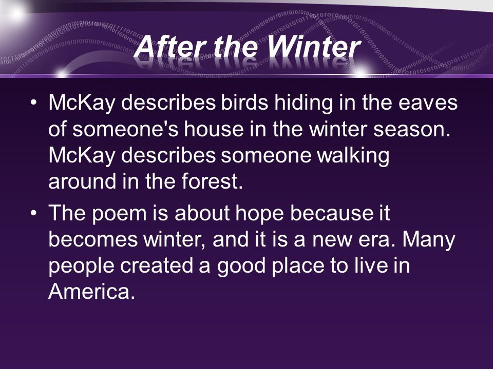 after the winter claude mckay