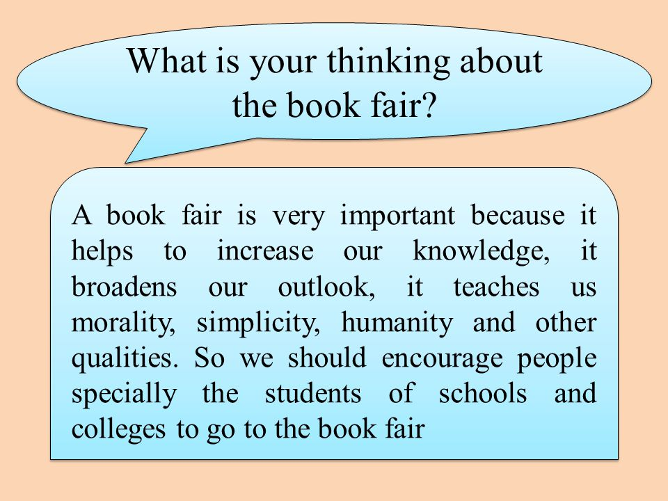 What is your thinking about the book fair.