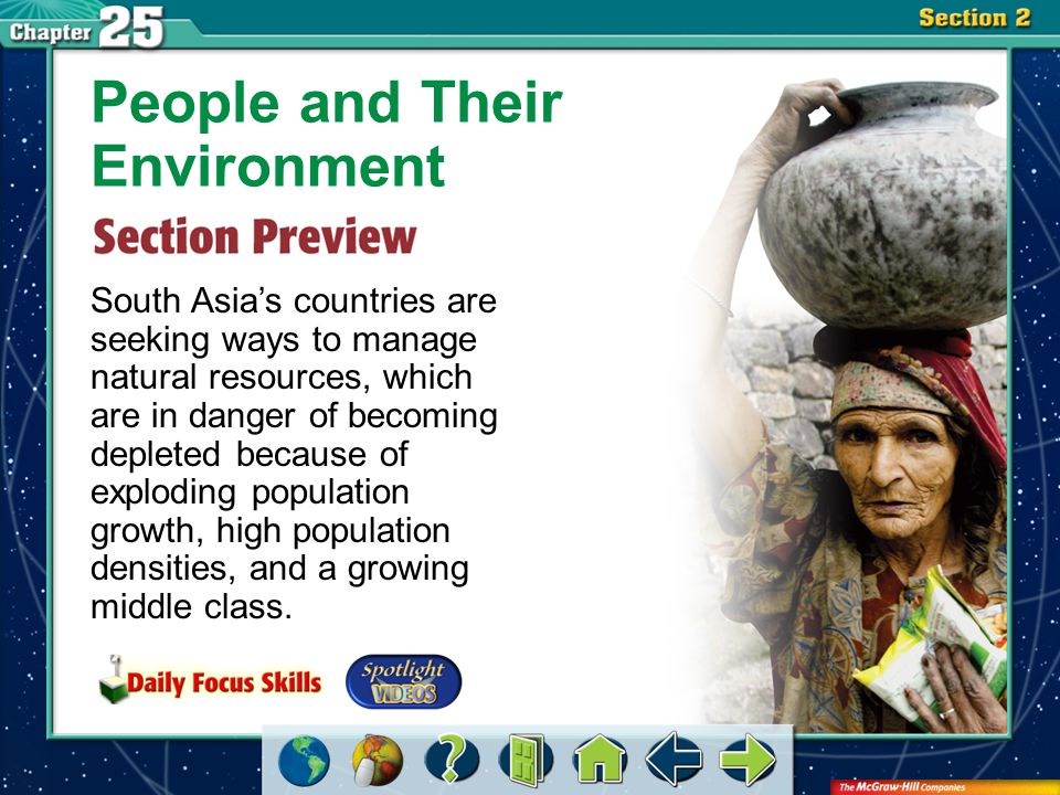 Section 2-GTR People and Their Environment South Asia's countries are seeking ways to manage natural resources, which are in danger of becoming depleted because of exploding population growth, high population densities, and a growing middle class.