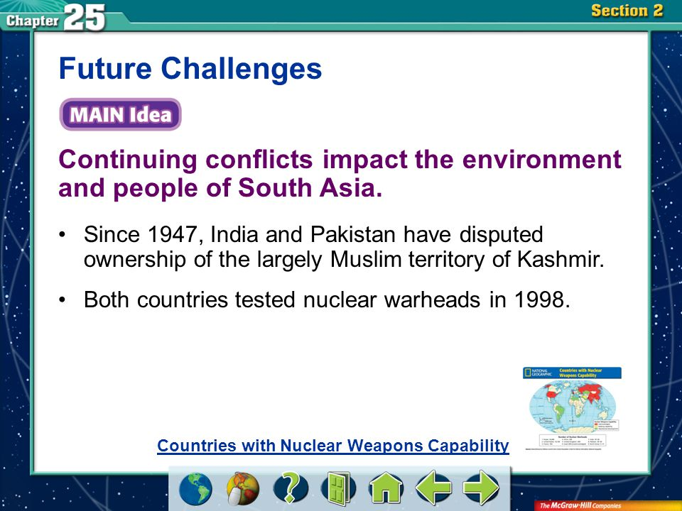 Section 2 Continuing conflicts impact the environment and people of South Asia.