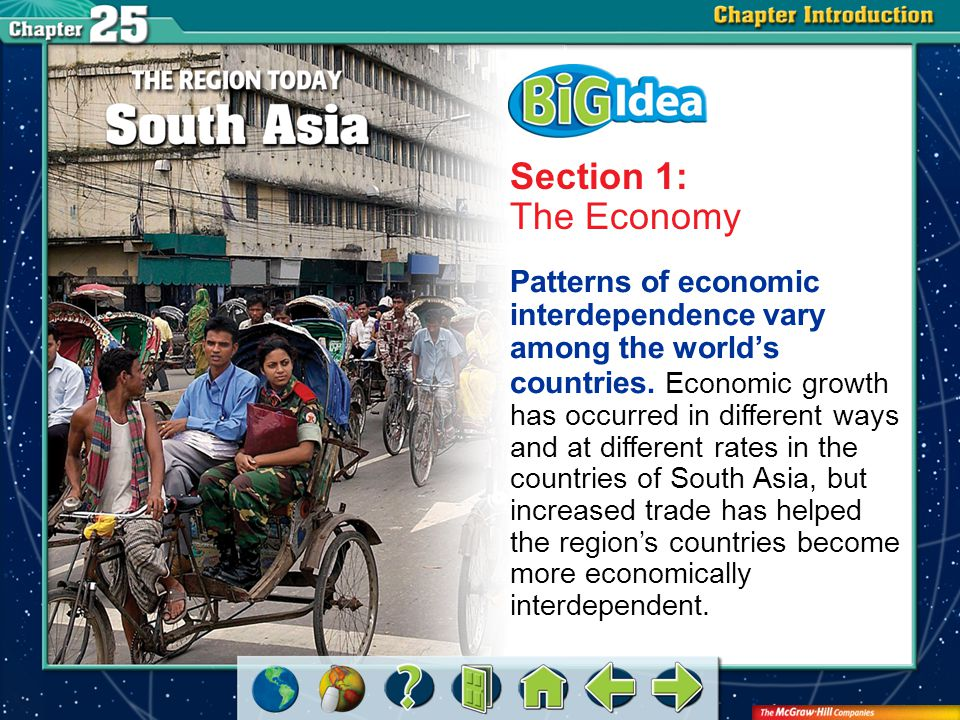 Chapter Intro 2 Section 1: The Economy Patterns of economic interdependence vary among the world's countries.